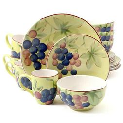Gibson Home Fruitful Harvest Grapes 16pc Dinnerware Set