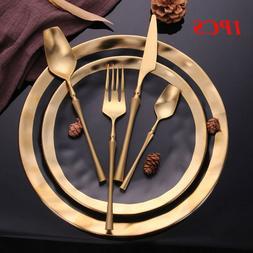 Home Gold Fork Spoon Dinnerware Cutlery Stainless Steel Tabl