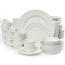 Home Heritage Place Dinnerware Set, White Procelain, 48-Piec