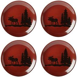 Nature's Home Moose Lodge Red Reactive Glaze Round Salad Pla