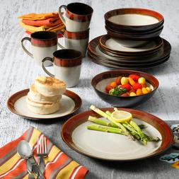 Red Ceramic Dinnerware Set 16pc For Home Occasion Party Kitc