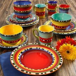 Gibson Home Pueblo Springs Handpainted 16-Piece Dinnerware S