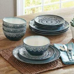 Home Quality Stoneware Teal Medallion 12-Piece Dinnerware Se