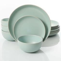 Gibson Home Rockaway 12 Piece Dinnerware Set, Matte Teal