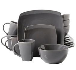 Gibson Home Soho Lounge Dinnerware Set - 16 Pieces, Gray