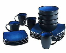 Gibson Home Soho Lounge Square 16-Piece Blue Dinnerware Set