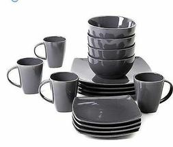 Gibson Home Soho Lounge Square 16-Piece Gray Dinnerware Set