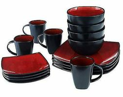 Gibson Home Soho Lounge Square 16-Piece red Dinnerware Set
