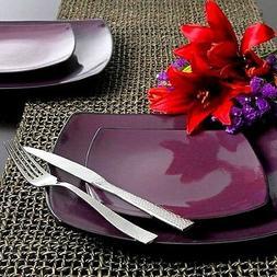 Gibson Home Soho Lounge Square 16-Piece Dinnerware Set-Purpl