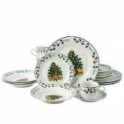 Gibson Home Tree Trimming Dinnerware Set in Christmas Theme,