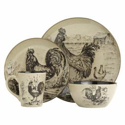 Homespun Rooster 16 Piece Dinnerware Set, Service for 4
