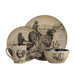 Pfaltzgraff Homespun Rooster 16-Piece Dinnerware Set, Servic