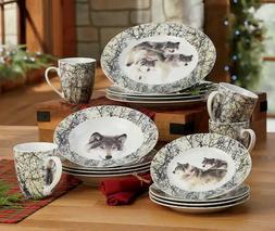Howling Wolf 16 PC Glazed Porcelain Dinnerware Set. New.