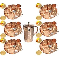 Prisha India Craft Set of 6 Indian Dinnerware Pure Copper Th