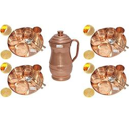 Prisha India Craft Set of 4 Indian Dinnerware Pure Copper Th