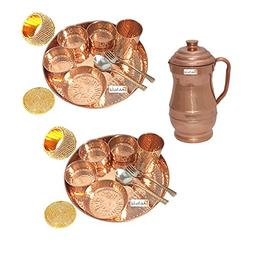 Prisha India Craft Set of 2 Indian Dinnerware Pure Copper Th