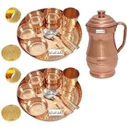 Prisha India Craft Set of 2 Indian Dinnerware Pure Copper Tr