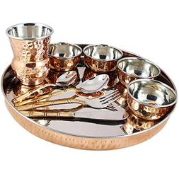 Indian Dinnerware Set Copper Stainless Steel Thali Plate Set