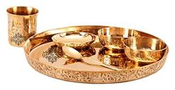 IndianArtVilla Bronze Kansa Utensil| 6 Piece Embossed Design