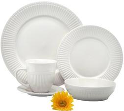 Melange 40 Piece Italian Classic White Premium Dinnerware Pl
