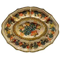 Italian Dinnerware - Oval Platter with Six Small Serving Dis