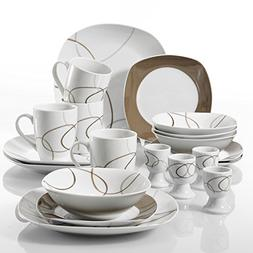 VEWEET 20-Piece Porcelain Dinnerware Sets Brown Lines Patter