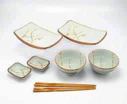 Happy Sales 8 Piece Japanese Cherry Blossom Dinnerware Set,