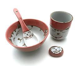 Japanese Cute Lucky Cat Maneki Neko Dinnerware Starter Kit f