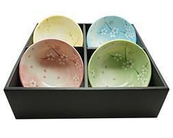 Japanese Traditional Ceramic Rice Bowl Set of 4 Cherry Bloss