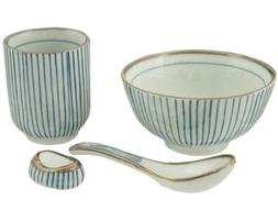 Japanese Traditional Tokusa Pattern Dinnerware Set for 1 wit