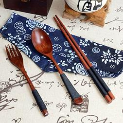 Iuhan Fashion Japanese Vintage Wooden Chopsticks Spoon Fork