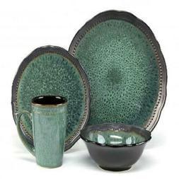 Cuisinart Jenna Green Collection Stoneware 16-Piece Dinnerwa