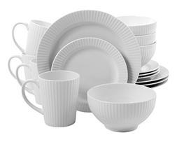 Gibson Home 16 Piece Josephine Cafe Dinnerware Set, White