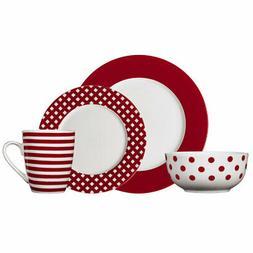 Pfaltzgraff Kenna Red 16 Piece Dinnerware Set, Service for 4
