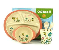 DAYOOH Kids Dinnerware Set of 5 -BPA Free Bamboo Bowl, Plate
