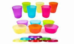 Kids Plastic Dinnerware Set of 18 Multi Color Pieces  -