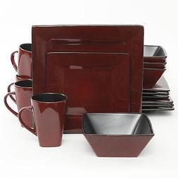 Gibson Kiesling Square Dinnerware 16 Piece Set Stoneware Red