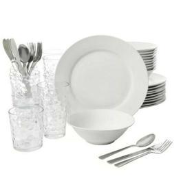 Kitchen Basic Essentials Dinnerware Set 48-Piece Dishwasher