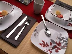 Corelle Kyoto Leaves NEW 5 PIECE Square Dinnerware PARTIAL S