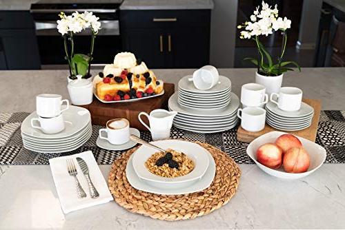 10 45-Piece Square Dinnerware White