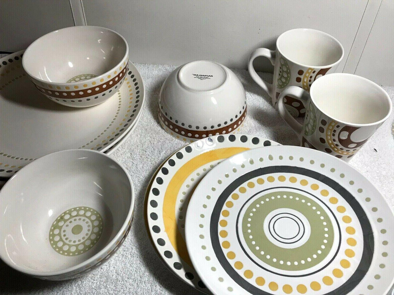 10 pieces of circles and dots dinnerware
