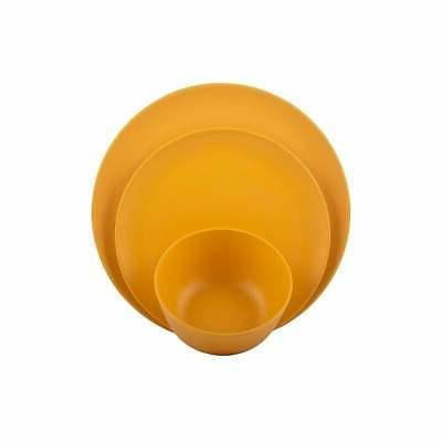 Melange 12-Pcs Bamboo Dinnerware Set, Yellow