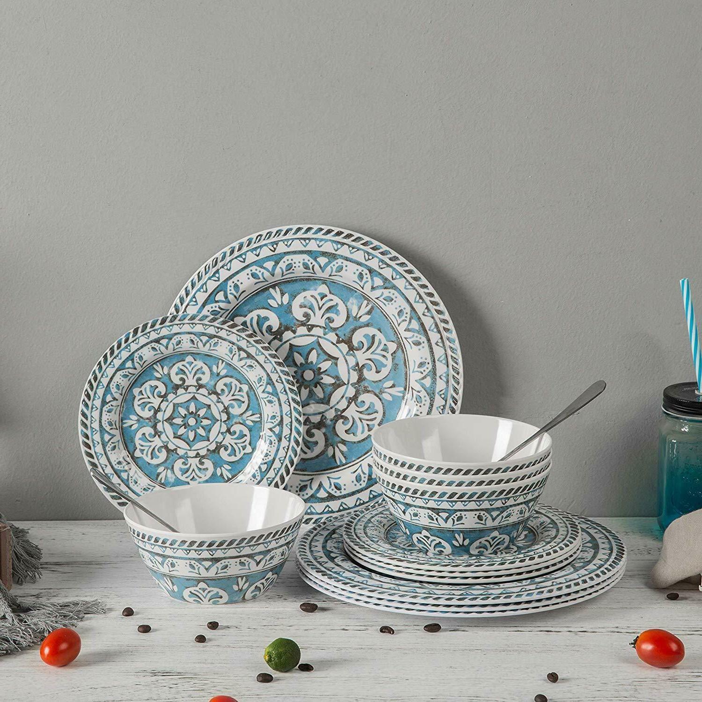 12 pcs break resistant indoor outdoor dinnerware