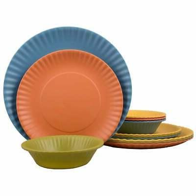 12 pcs melamine dinnerware set paper plate