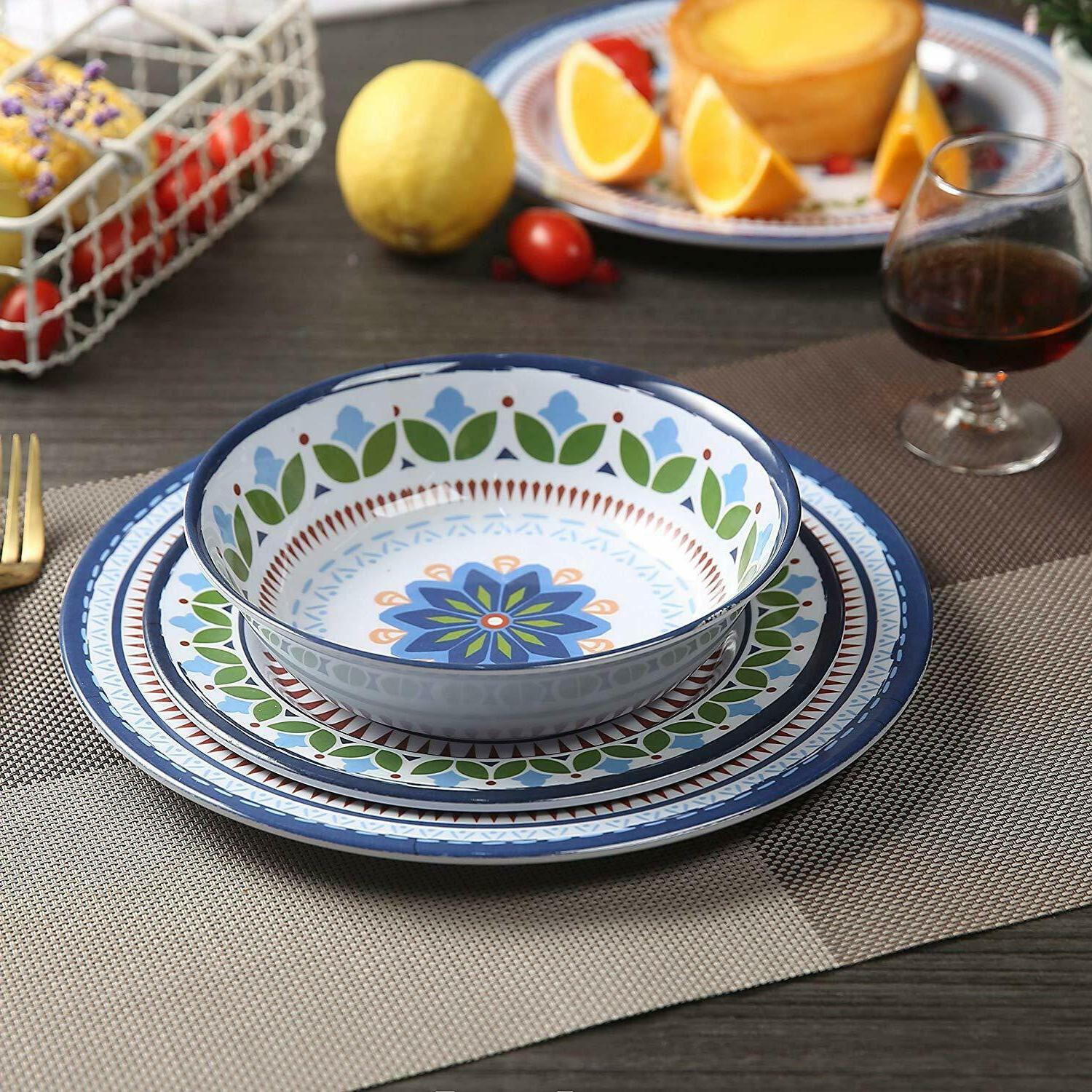 12 Pcs  Dinnerware Set - Rustic Plates and bowls Set for Cam