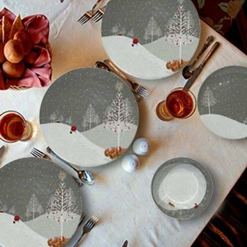 Christmas Dishes Dinnerware Sets 4 Serving Heavy Duty Holiday Dishwasher Safe