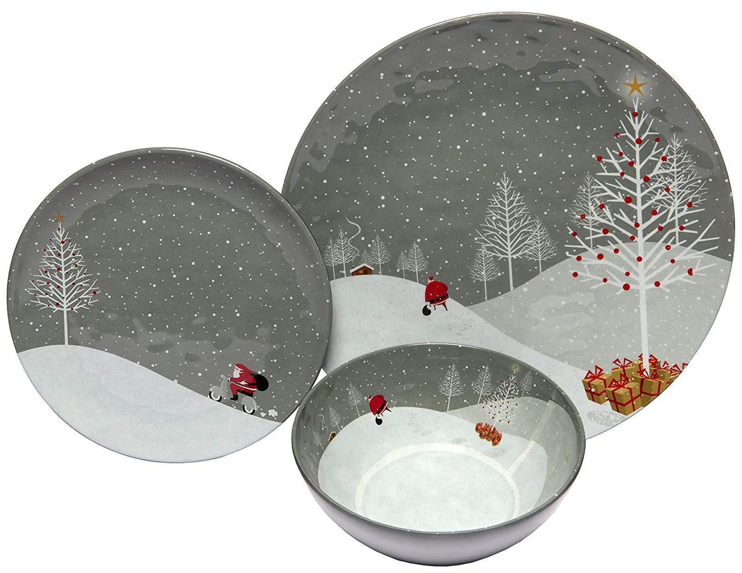 christmas dishes dinnerware sets 4 serving heavy