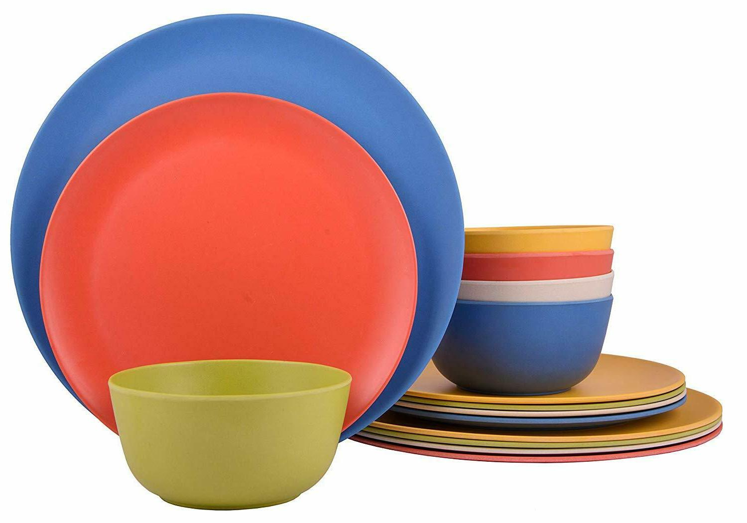 12 piece bamboo dinnerware set rounds collection