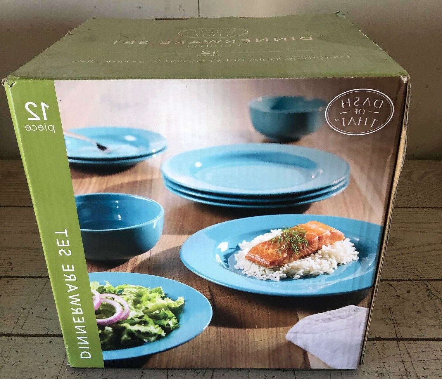 12 piece ceramic dinnerware set blue plates