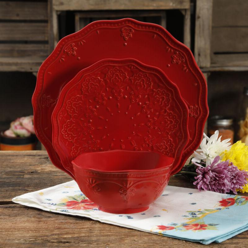 12-Piece Set Lace Stoneware - Multiple Colors
